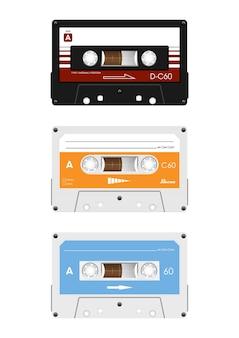 Kolekcja retro kaset audio.