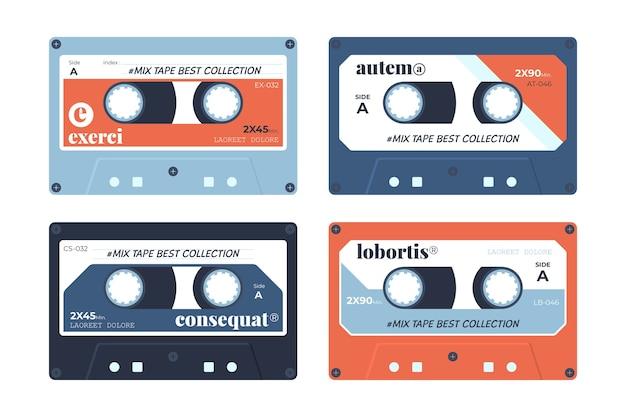 Kolekcja retro kasetowa taśma projektowa