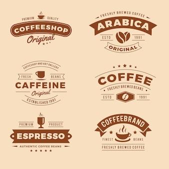 Kolekcja retro logo kawiarni