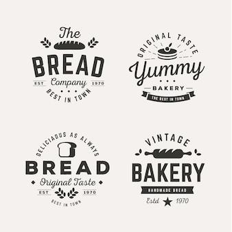 Kolekcja retro logo piekarni
