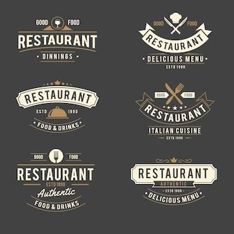 Kolekcja retro logo restauracji kolekcja retro logo restauracji