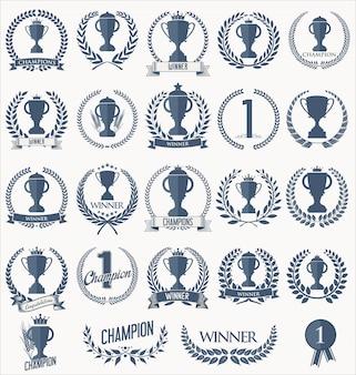 Kolekcja retro odznaki trofeum