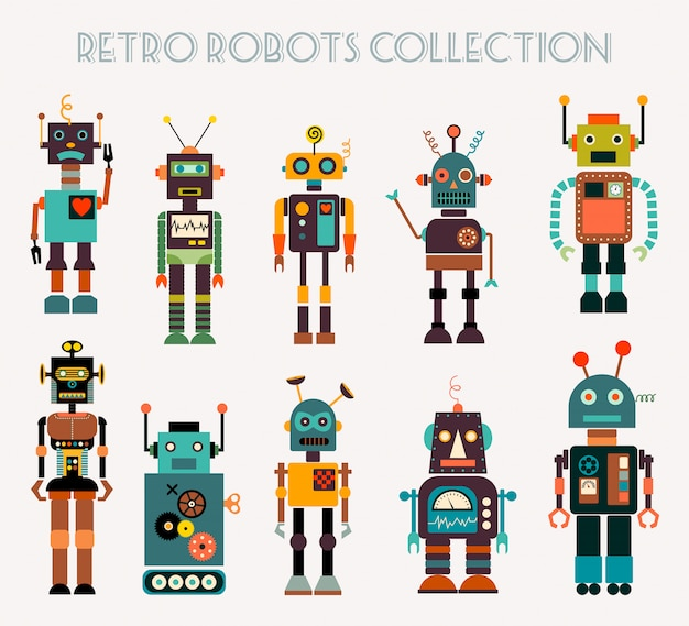 Kolekcja retro robotów z różnymi postaciami
