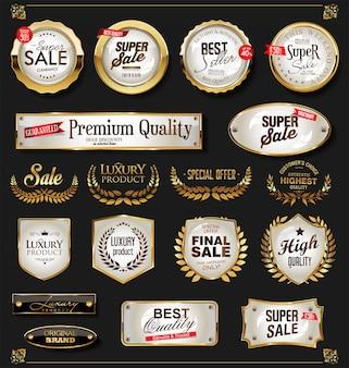 Kolekcja retro vintage błyszczący złoty etykiety