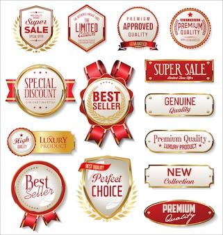 Kolekcja retro vintage złote i czerwone odznaki i etykiety
