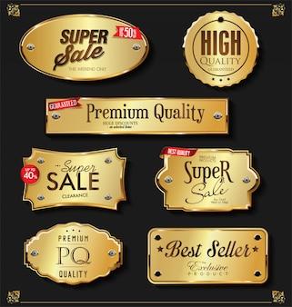 Kolekcja retro vintage złote odznaki i etykiety