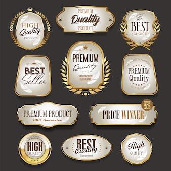 Kolekcja retro vintage złotych etykiet i odznak