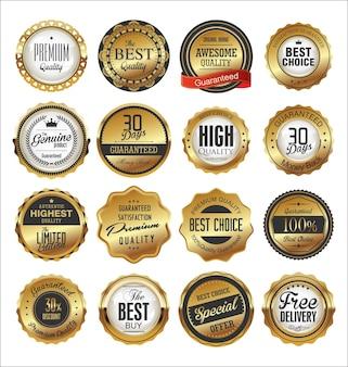 Kolekcja retro złotej i czarnej odznaki i projektu etykiety