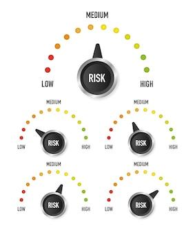 Kolekcja risk speedometer, świetny design do dowolnych celów. symbol niebezpieczeństwa. ilustracja wektorowa.