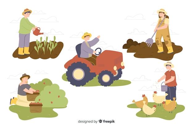Kolekcja robotników rolnych