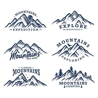 Kolekcja rocznika odznaki projektu górskiego