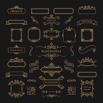 Kolekcja rocznika ornamentu ramy ilustracja