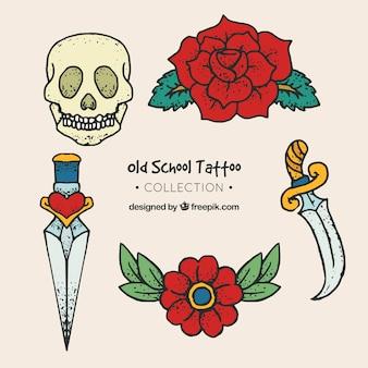 Kolekcja rocznika rysowane ręcznie tatuaże