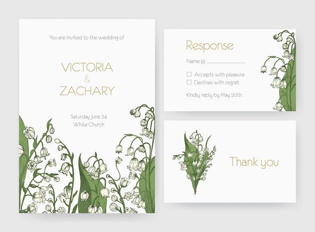 Kolekcja romantycznych zaproszeń na ślub, save the date i szablonów kart odpowiedzi ozdobionych dzikimi kwiatami konwalii lub roślin kwitnących.