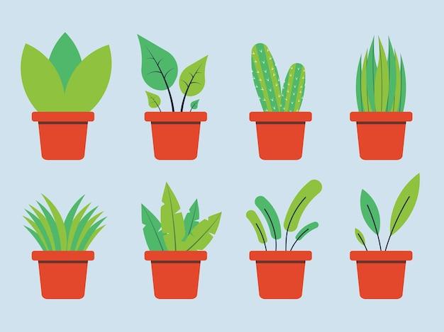Kolekcja roślin doniczkowych w ilustracji wektorowych