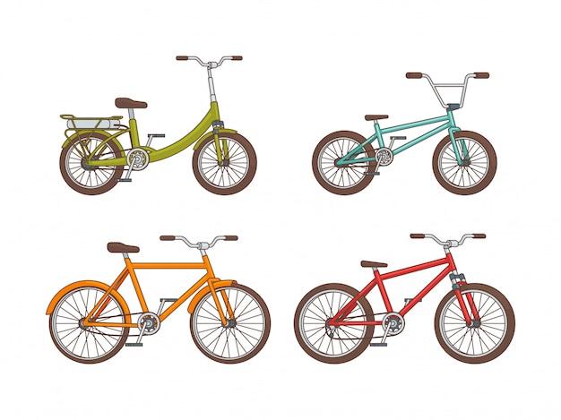 Kolekcja rowerów kreskówka