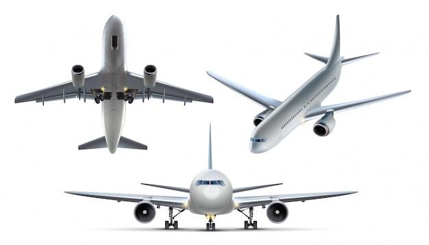 Kolekcja równin powietrznych. pojedynczo na białym tle, widok z góry, widok z boku i widok z przodu.