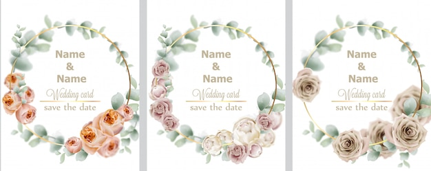Kolekcja róż wesele wieniec akwarela