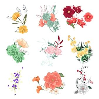 Kolekcja różnorodnych bukietów kwiatowych