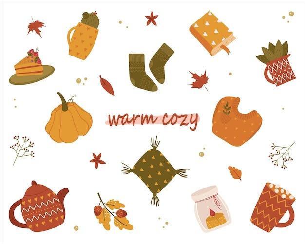Kolekcja różnorodnych ślicznych elementów jesiennych. ciepłe przytulne. skarpetki, kaktus, ciasto, dynia, poduszka, świeczka, książka, cappuccino, sweter, rośliny domowe. rysunek odręczny. na białym tle.