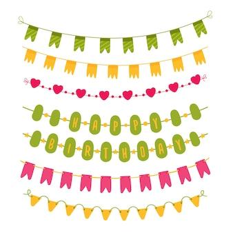 Kolekcja różnych elementów dekoracyjnych na urodziny