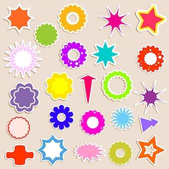 Kolekcja różnych kształcie naklejek