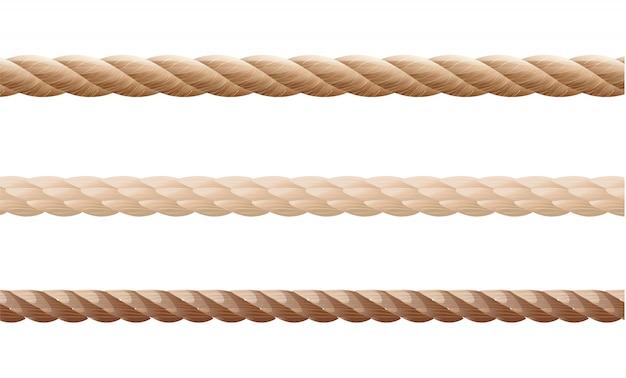 Kolekcja różnych lin sznurkowych na białym tle