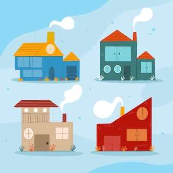 Kolekcja różnych minimalistycznych domów