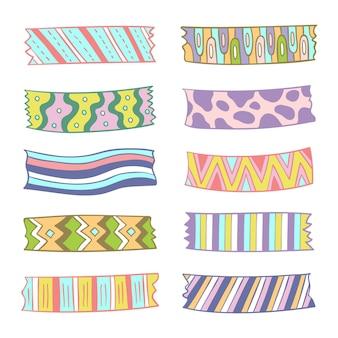 Kolekcja różnych narysowanych taśm washi
