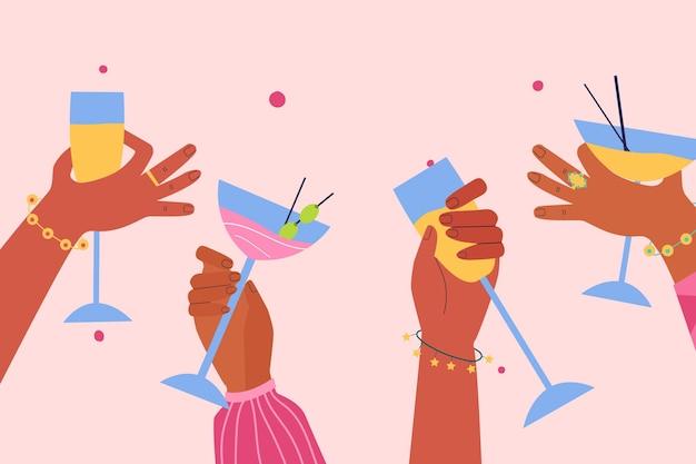 Kolekcja różnych rąk z różnymi koktajlami
