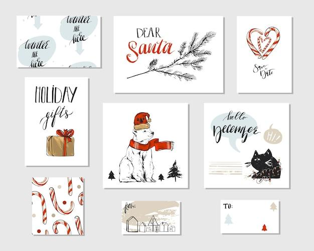 Kolekcja różnych ręcznie robionych kart okolicznościowych wesołych świąt z niedźwiedziem polarnym, cukierkami, brunchem na choince, czarnym zabawnym kotem, pudełkami na prezenty i nowoczesną kaligrafią bożonarodzeniową