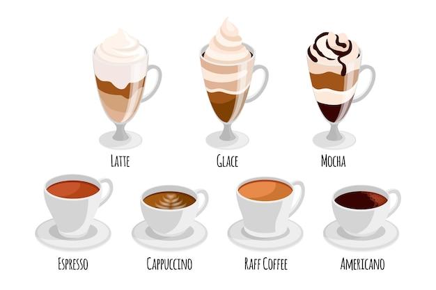 Kolekcja różnych rodzajów kawy