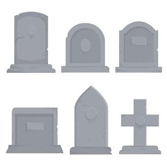 Kolekcja różnych różnorodnych nagrobków ilustracyjnych