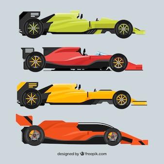 Kolekcja różnych samochodów formuły 1