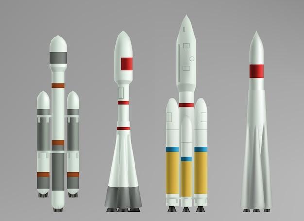 Kolekcja różnych statków rakietowych