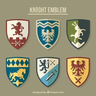Kolekcja różnych symboli rycerzy