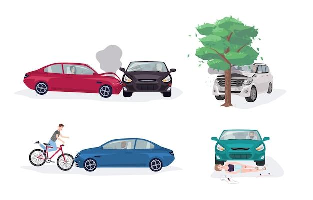 Kolekcja różnych sytuacji wypadków drogowych. wypadek samochodowy z samochodem, drzewem, rowerem i łyżwiarzem. kolorowy wektor zestaw ilustracji.