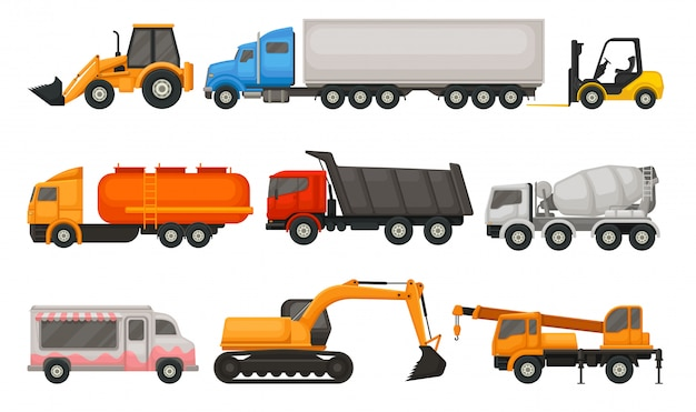 Kolekcja różnych typów pojazdów. kolorowe ilustracje płaskie na białym tle.