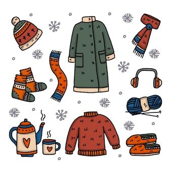 Kolekcja różnych ubrań zimowych