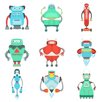 Kolekcja różnych uroczych fantastycznych robotów