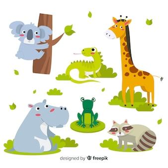 Kolekcja różnych uroczych zwierzątek
