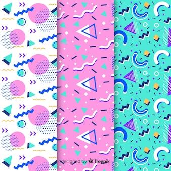 Kolekcja różnych wzorów memphis