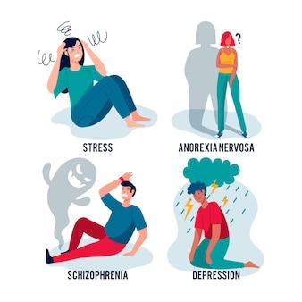 Kolekcja różnych zaburzeń psychicznych