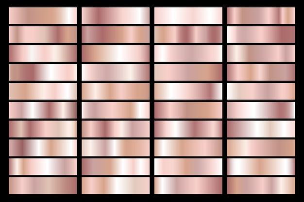 Kolekcja różowego złota metalicznego gradientu. wspaniałe talerze ze złotym efektem.