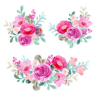 Kolekcja różowy fioletowy bukiet kwiatowy z akwarelą