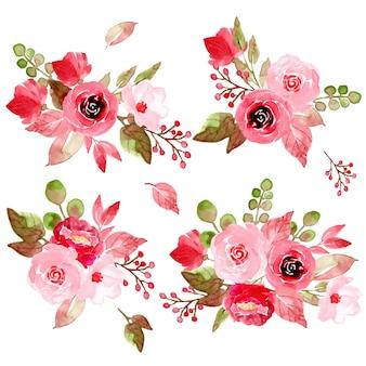 Kolekcja różowy kwiatowy układ akwarela