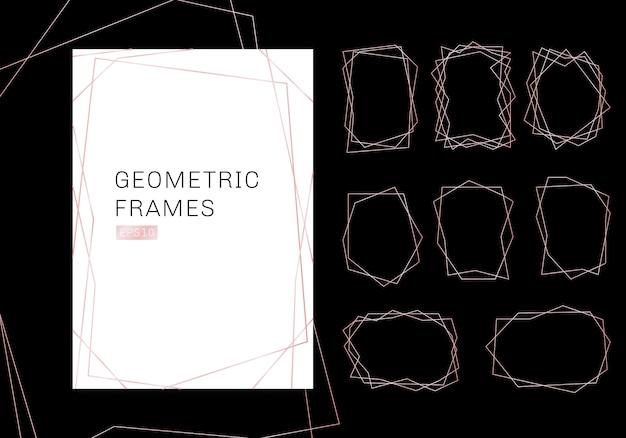 Kolekcja różowych geometrycznych wielościanów z ramkami