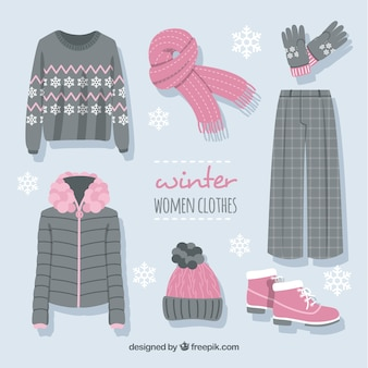 Kolekcja różowych i szarych zimowych ubrań