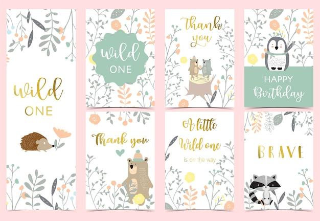 Kolekcja różowych kart boho z niedźwiedziem, dżunglą, pingwinem, jeżem.