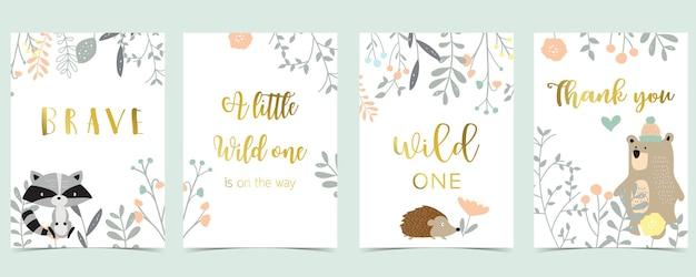 Kolekcja różowych kart boho z niedźwiedziem, dżunglą, skunksem, jeżem. ilustracja wektorowa na zaproszenie urodzinowe, pocztówka i naklejka. element do edycji